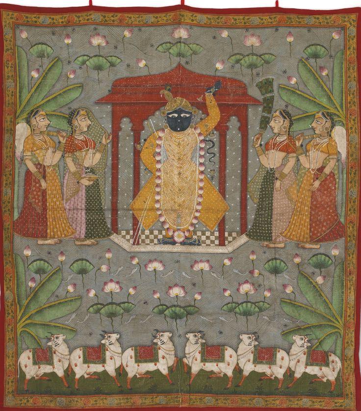 Picchavai of ShruNathji flanked by maidens. India, Nathdwara, c.1900.