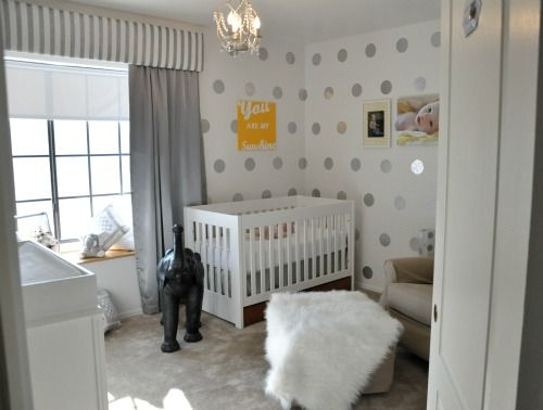 DIY polka dots on accent wall with silver contact paper!Nurseries Wall, Polka Dots, Wall Decals, Contact Paper, Projects Nurseries, Baby Room, The Dots, Home Improvements, Stainless Steel