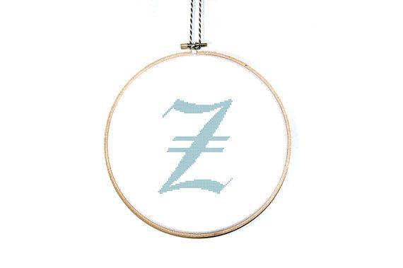 Letter Z Cross Stitch Pattern Calligraphy Letter By