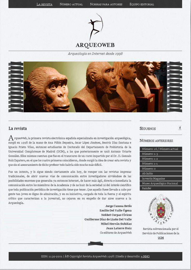 Revista ArqueoWeb, Edita la Universidad Complutense de Madrid, 1998–2016 http://pendientedemigracion.ucm.es/info/arqueoweb/index.html