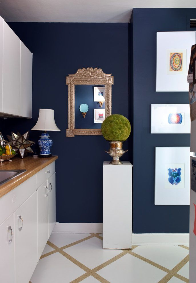 Benjamin Moore Old Navy Kitchen Eclectic With White Stand
