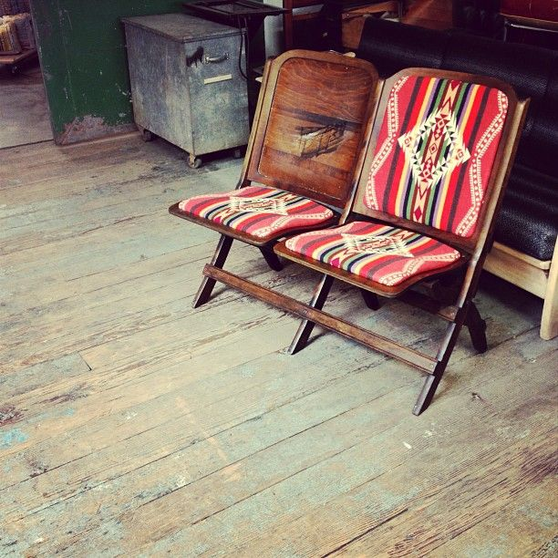 """Instagram: """"@WoodandFaulk: Theater seats with old stock Pendleton for the @beamandanchor shop. Being worked on by @Revivedesigns"""""""