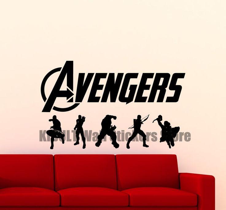 Avengers Wall Decal Superhero Artwork Iron Man Hulk Thor Comic Book Vinyl  Sticker Logo Poster Boy Part 82