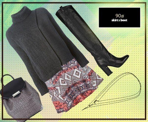 Стильное сочетание: свитер + сапоги.
