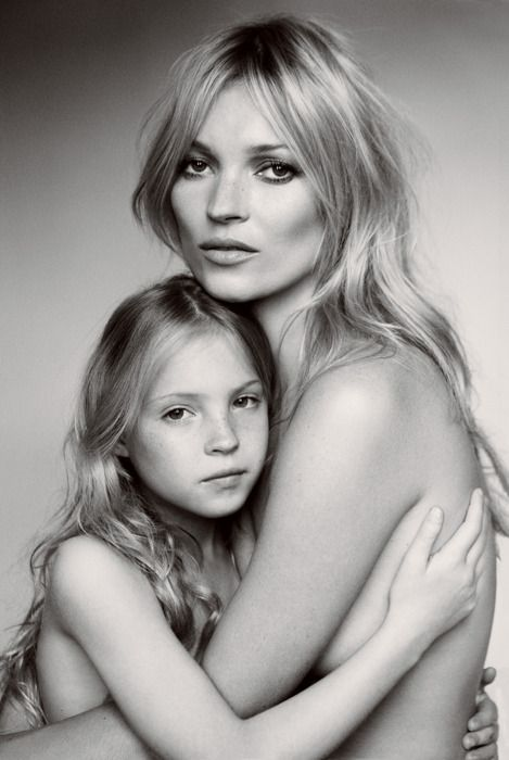 suicideblonde:    Kate Moss and her daughter Lila Grace photographed by Mario Testino for Vogue, Sept 2011  Lila Grace and Kate recapture the early-'90s minimalist aesthetic of the black-and-white Calvin Klein campaigns that elevated Moss to supermodel status.