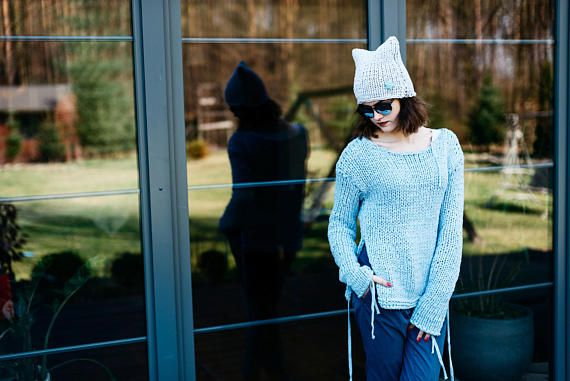 Grungie women's sweater   Orginal Sweater  Losse waeve Top #bluesweater,  #grugiesweater, Ribbonsweater