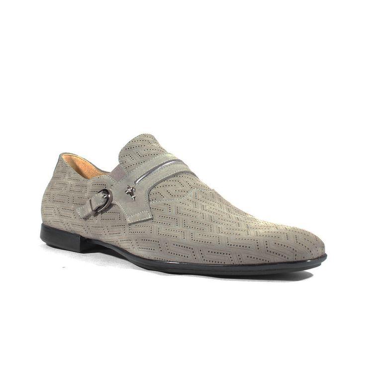 Cesare Paciotti Italian Mens Shoes Vit Camoscio Fumo Grey Suede Loafers (CPM2624B)
