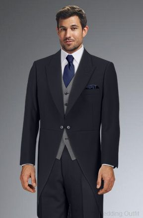 Austin Reed- AJ's favourite: Navy plain tails & grey waistcoat.