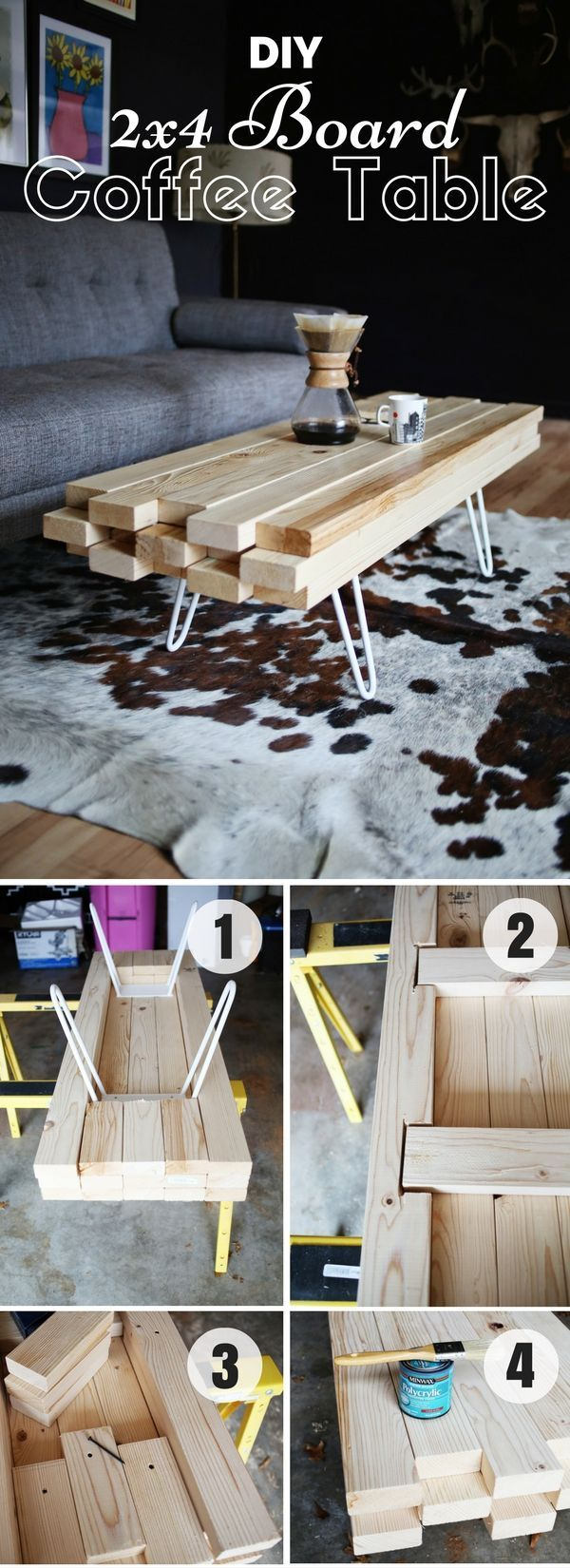 Check out how to make this easy DIY 2x4 Board Coffee Table @istandarddesign (Diy Table)