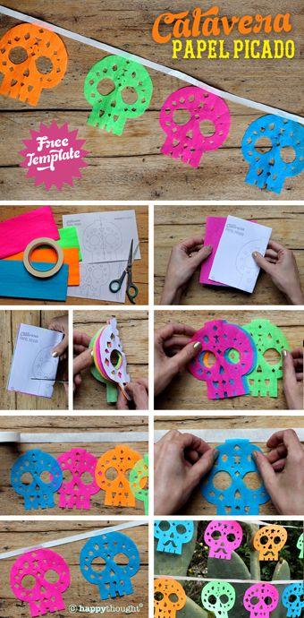 Tutorial para hacer una pancarta de papel crepé con siluetas de calaveras de colores Para fiesta temática de halloween de Día de Muertos. #TematicasDeHalloween