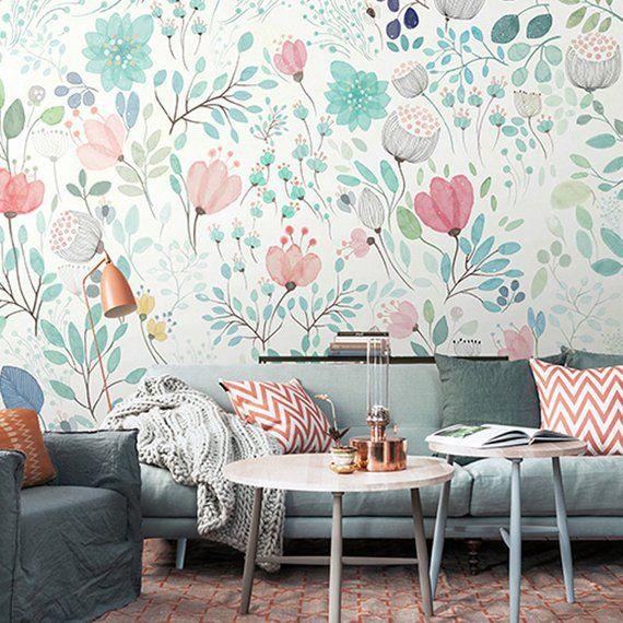 Hand Painted Watercolor Garden Wallpaper Fresh Small Flowers Wall Murals Wall Decals Wa Decoracion De Interiores Decoracion De Pared Paredes Con Papel Pintado