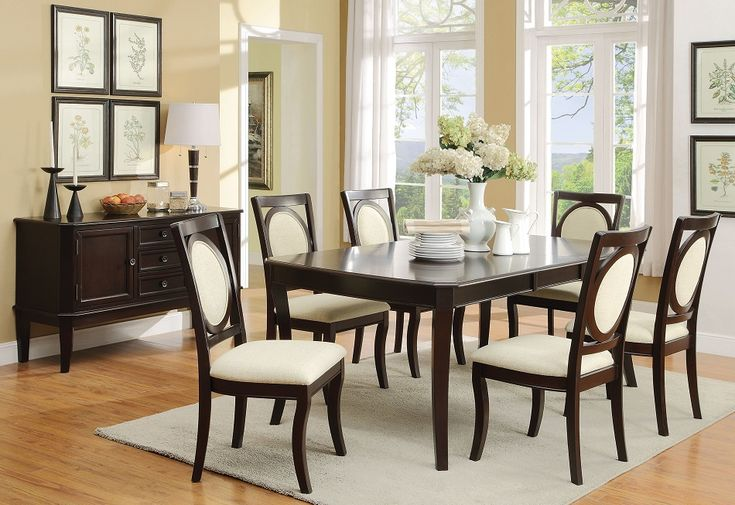Coaster furniture 105671 crest hill Cherry brown transitional dining set with ivory upholstered chairs
