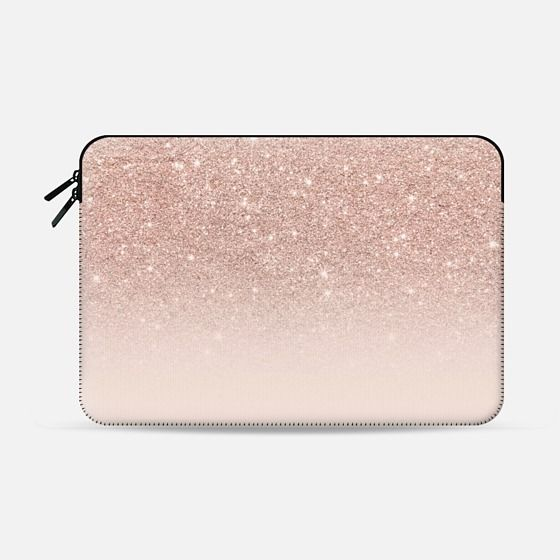 Modern faux rose gold glitter ombre blush pink - Macbook Sleeve