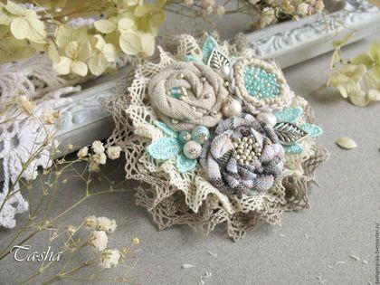 Броши ручной работы, магазин Ta-shananka, брошь бохо, цветы из ткани, брошь мятного цвета