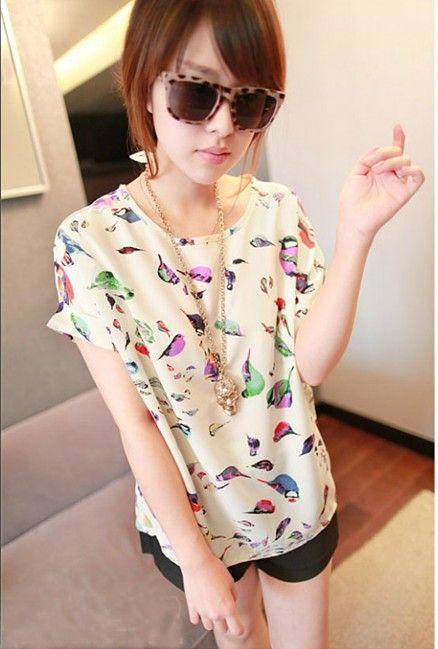 loving this Chiffon bird print blouse!