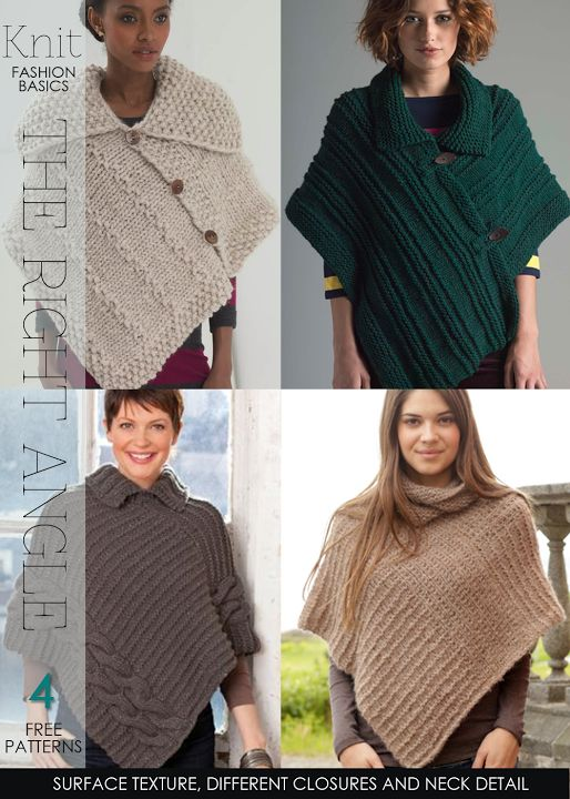 Needlecrafts - Knit,Crochet - Rectangle Ponchos                       Textured knit poncho|    free pattern available here   Crochet str...