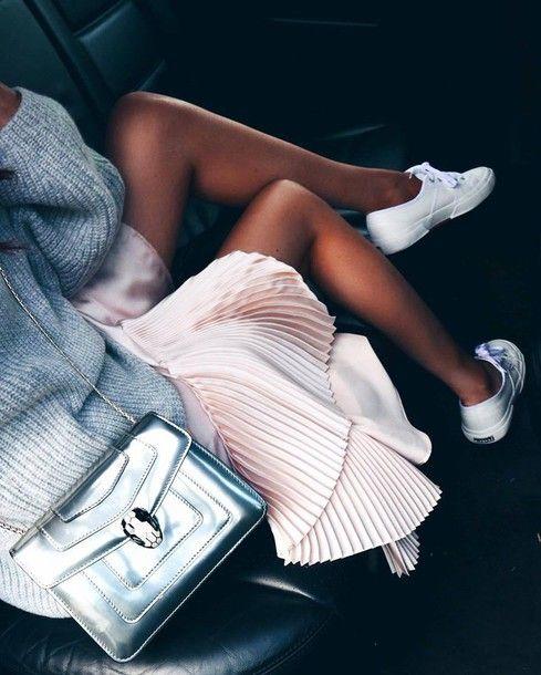 Bag: tumblr skirt pink skirt pleated pleated skirt silver swarovski sweater grey sweater sneakers