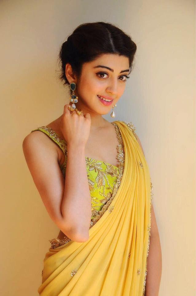 pranitha subhash in a yellow designer saree. 10 January 2017