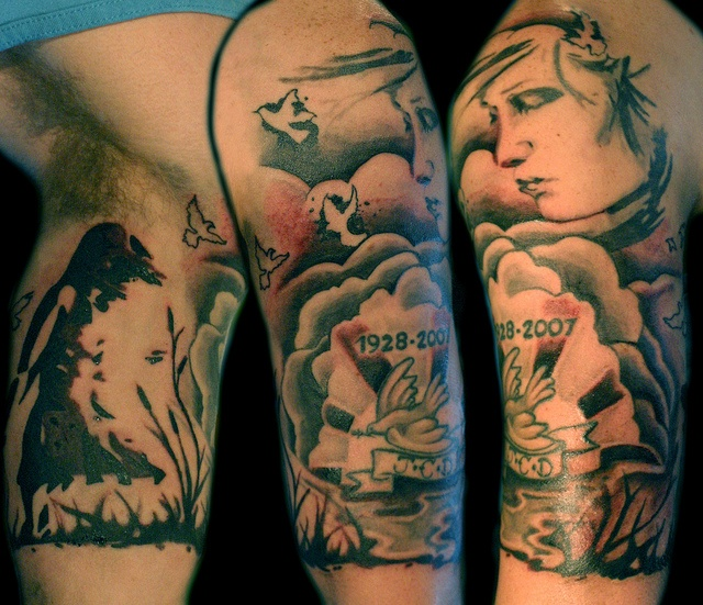 cloud girl sleeve tattoo by Deanna Wardin @ Tattoo Boogaloo, via Flickr