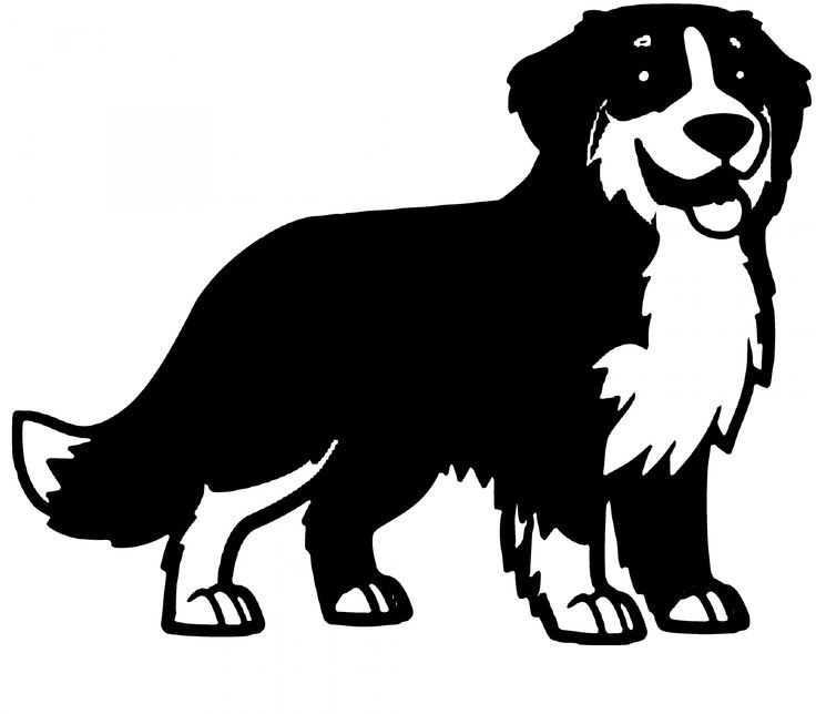 Silhouette Clipart Black And White Bernese Mountain Dog
