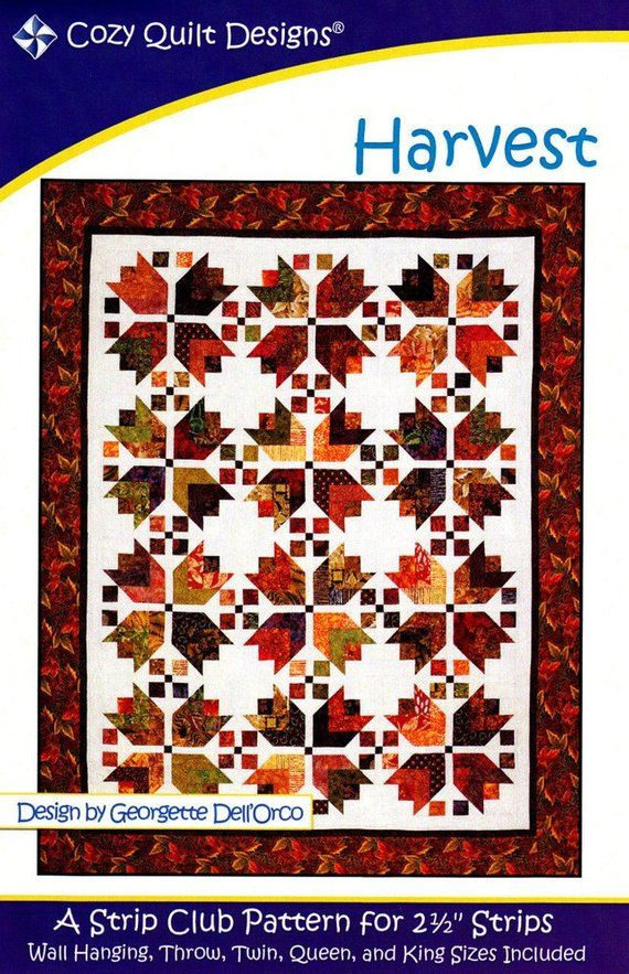 HARVEST – By: Cozy Quilt Designs Strip Club Pattern for 2-1/2″ Strips – Fall, Leaves,Bear Paws