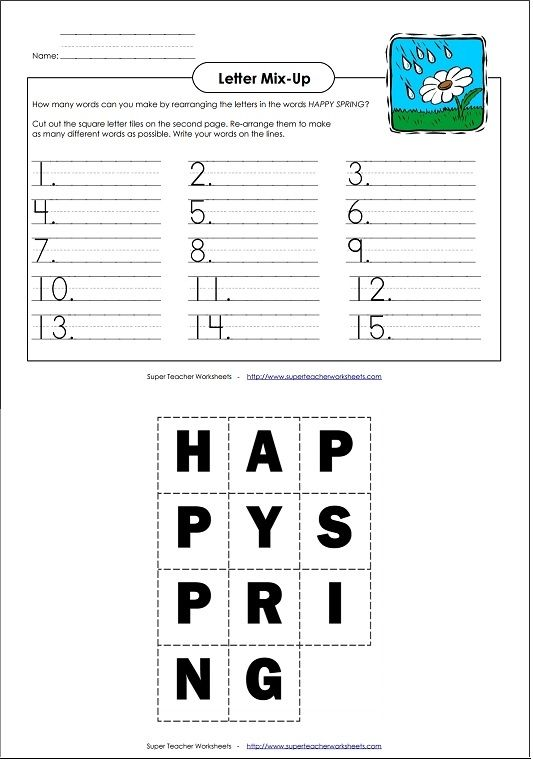 how many words can you make using the phrase happy spring language arts super teacher worksheets pinterest literacy spring and worksheets