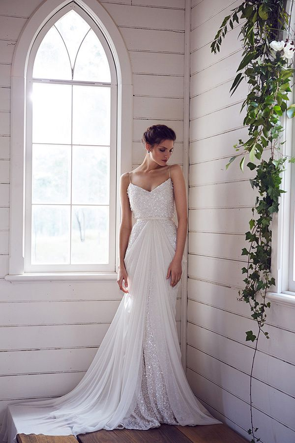 sequined wedding gown by Karen Willis Holmes http://ruffledblog.com/karen-willis-holmes-wedding-dresses #weddingdress #bridal