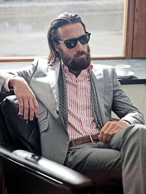 suit beardLike A Boss, Beards, Men Clothing, Grey Suits, Long Hair, Men Fashion, Fashion Photography, Bohemian Style, Silk Scarves