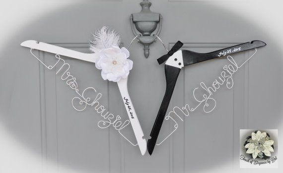 BRIDE & GROOM Wire Name Hangers  Set of 2  by TouchOfEleganceByDel