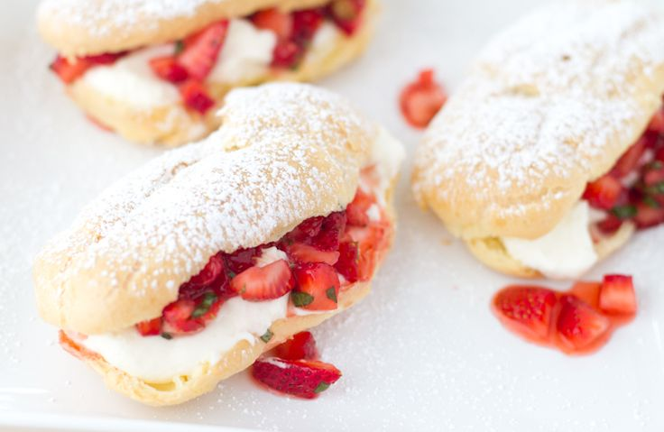 Strawberry Basil Eclairs: Desserts, Sweet Treats, Chase Delicious, Eclairs Recipes, Baking, Basil Eclairs, Drinks, Food Gawker, Strawberries Basil