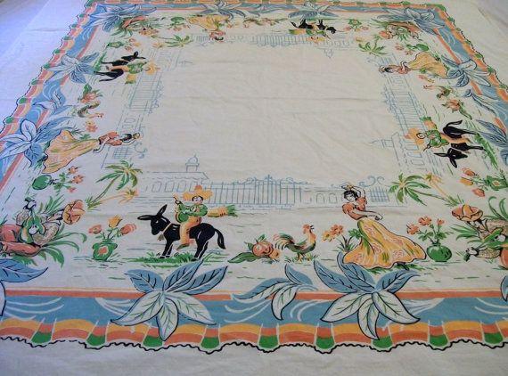 Vintage Southwestern Tablecloth Southwestern by VintagePlusCrafts