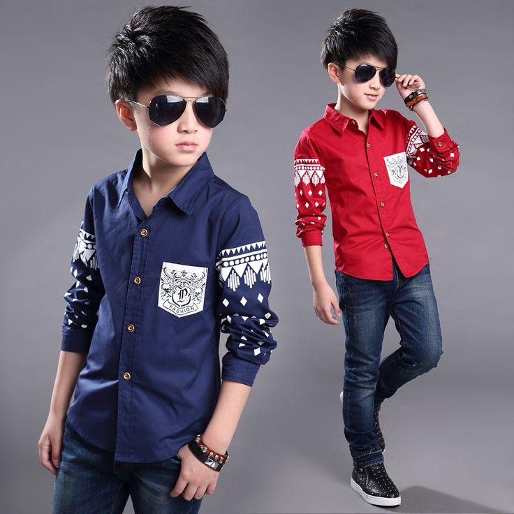 2016 новый ребенок мальчика рубашки хлопка печати рубашки с длинным рукавом дети рубашки мальчик одежда летние рубашки платье 3-10 год 16800