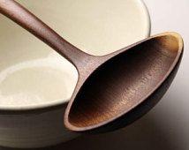 Wide handmade wooden ladle spoon kitchen utensil of Black Walnut wood