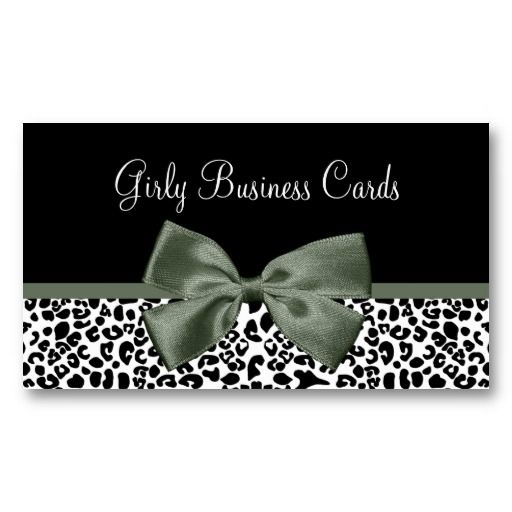 14 best leopard print bow boutique supplies images on pinterest a trendy black and white leopard print business card with a sophisticated mossy green ribbon tied colourmoves Images