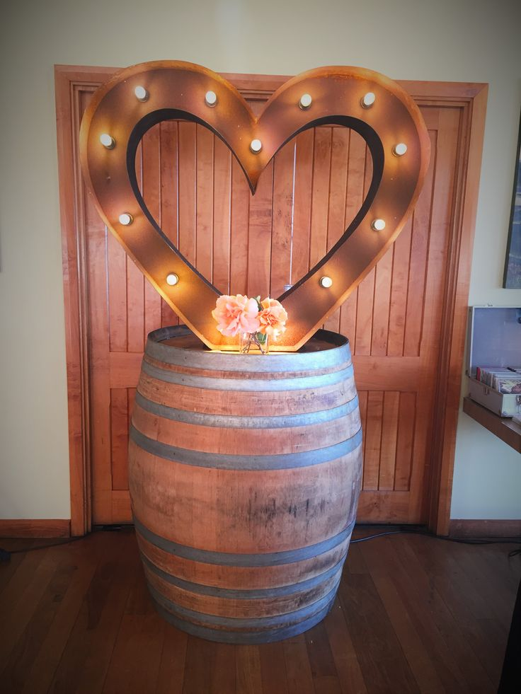 Weddings at Millbrook Winery | Rustic letter - Vintage Letters & Co | Barrel - Millbrook Winery