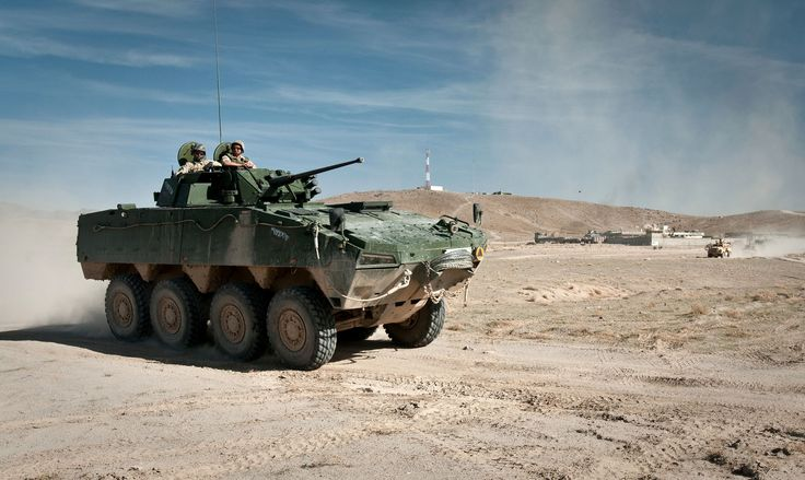 A Polish Army KTO Rosomak armored modular vehicle patrols near Camp Giro in Ghazni Province, Afghanistan (March 17, 2010)