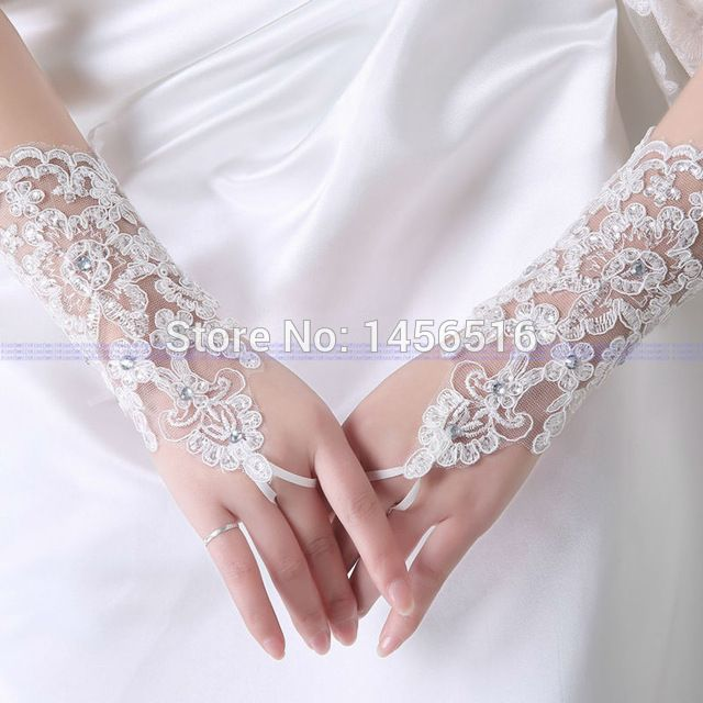 2017 In stock Opera Bridal Gloves Fingerless Beaded White wedding gloves wedding accessories