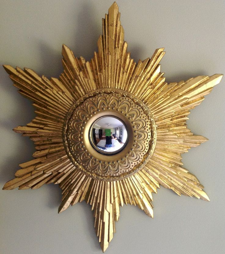 Sunburst starburst mirror an easy diy this one was made for Small gold framed mirrors