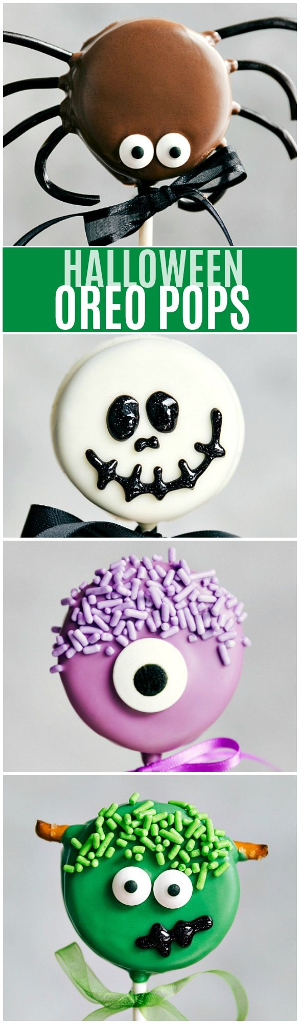 Il Cutest (e super semplice) Oreo Pops decorato per Halloween - Spider Oreo Pops, Skeleton Oreo Pops, Frankenstein Oreo Pops, e Monster Oreo Pops Leggi le recensioni rave !!  via chelseasmessyapron.com