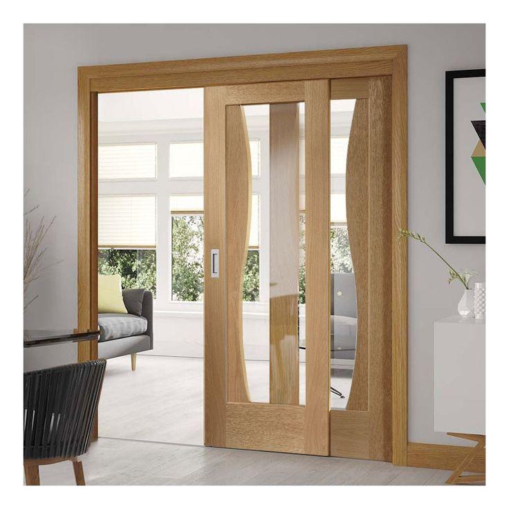 Easi-Slide OP3 Oak Emelia Sliding Door System with Clear Glass in Three Size Widths. #slidingdoors #designerdoors #newslidingdoors