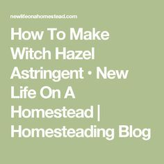 How To Make Witch Hazel Astringent • New Life On A Homestead | Homesteading Blog