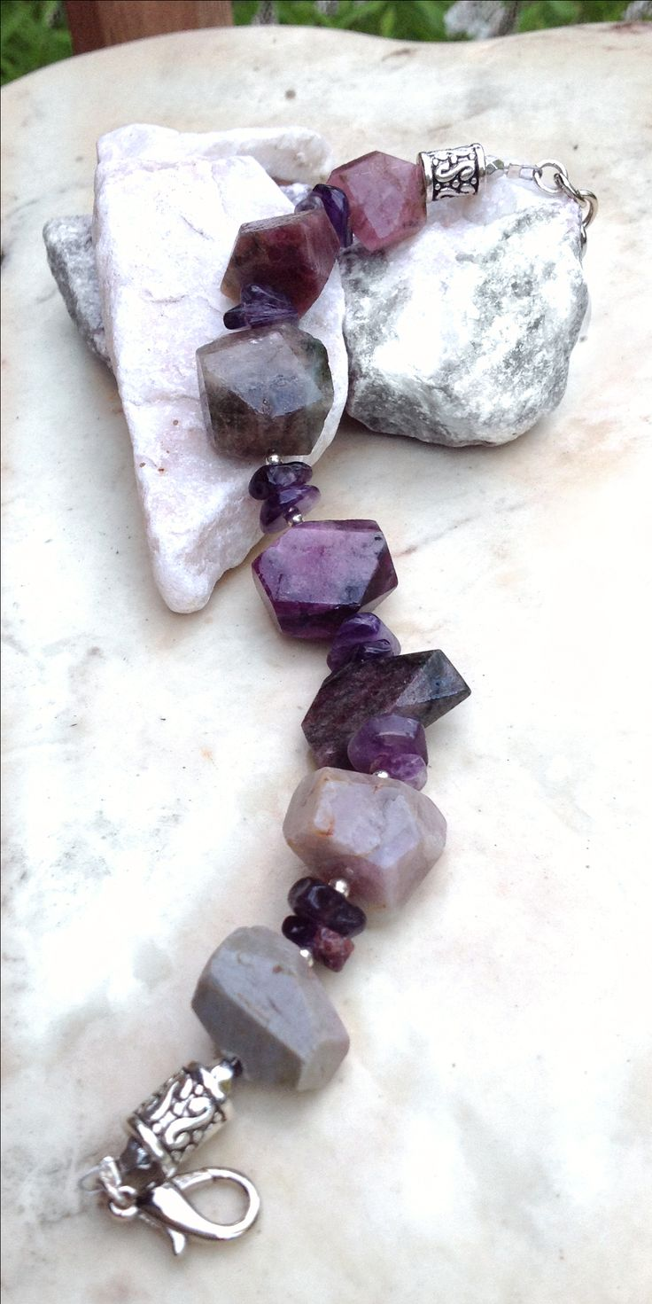 Rough cut amethyst bracelet