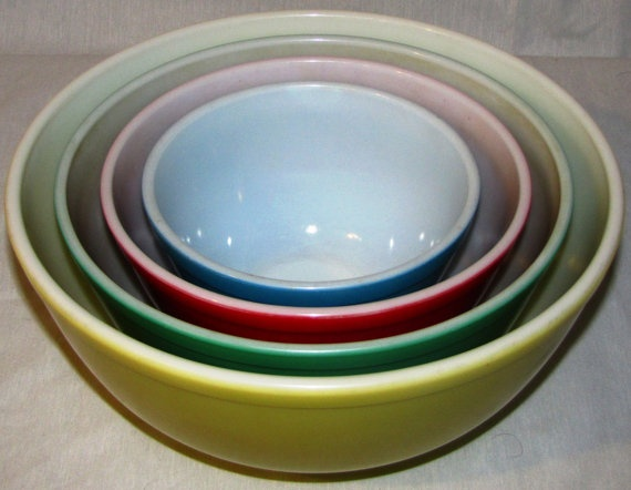 Beautiful Vintage Pyrex Primary colors bowl set. The no need to get greedy price :). $71.00, via Etsy.