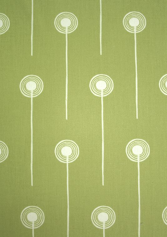 Dandelion Two Fabric A printed cotton fabric with simple contemporary dandelion design in pale green.