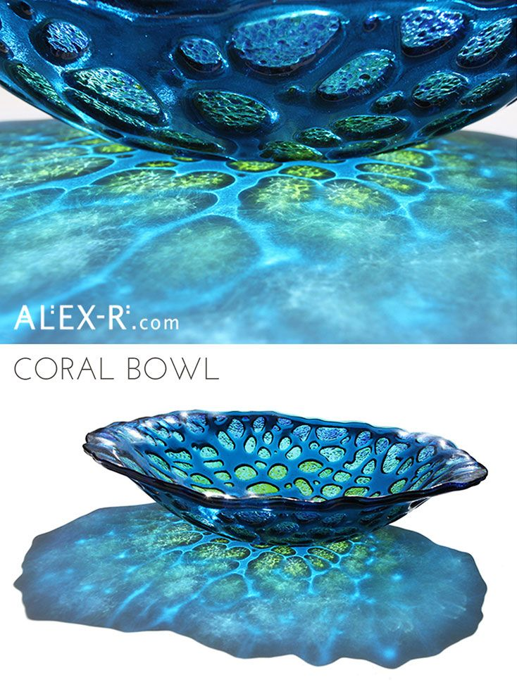 Coral Vessel in Aquamarine and Green. Fused glass bowl inspired by deep sea corals. #colour #light  www.alex-r.com