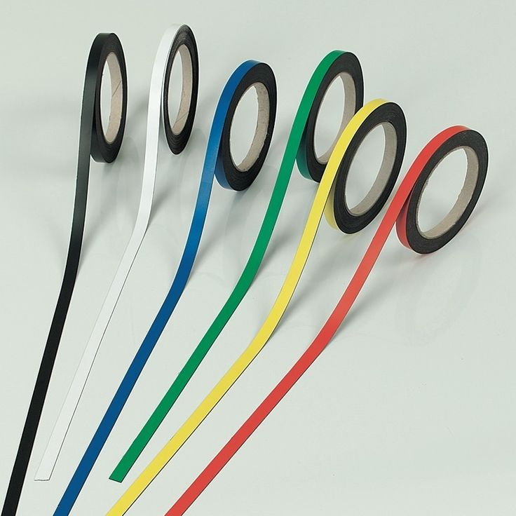 Whiteboard Magnetic Tape Rolls of brightly coloured magnetic tape.                                                                                                                                                                                 More