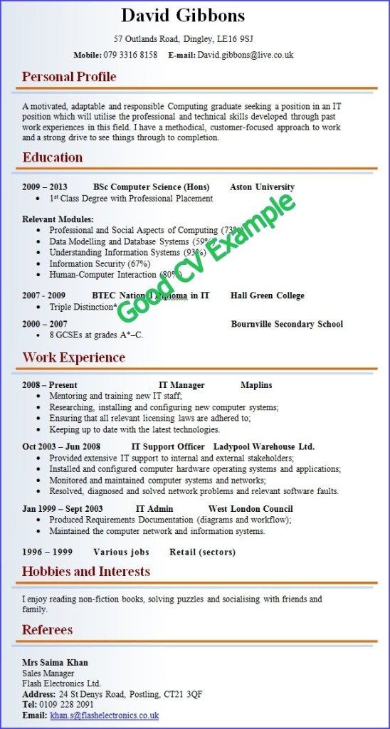 Cool Good Cv Template Idea good and bad abc cv good resume
