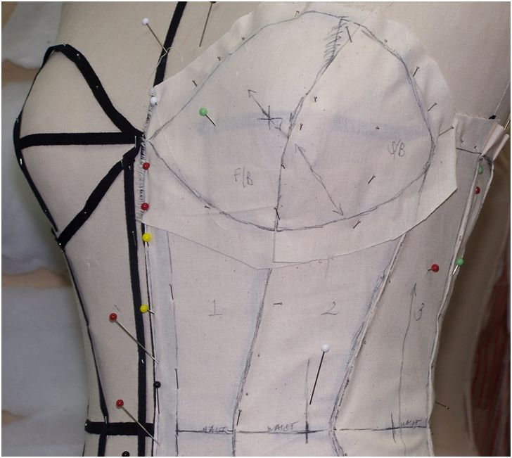 draping technique for pattern construction for ladies corset