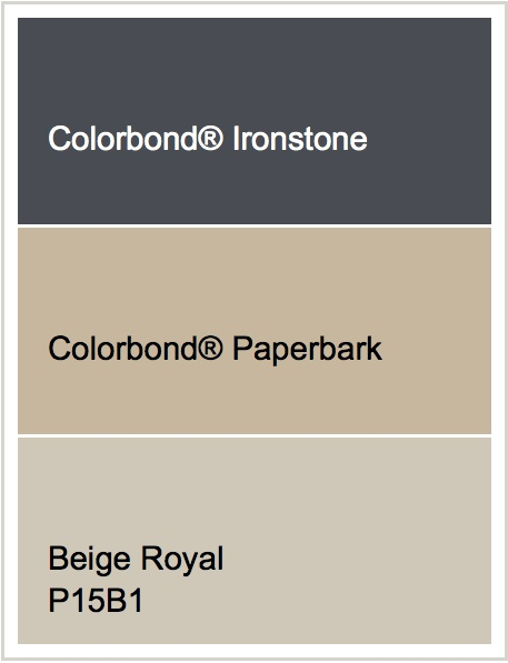 Roof - Ironstone   Render - Beige Royal   Windows - Paperbark