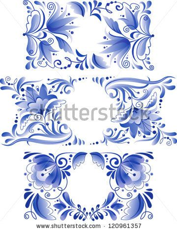 Russian ornaments art frames in gzhel style. Gzhel (a brand of Russian ceramics, painted with blue on white) - stock vector